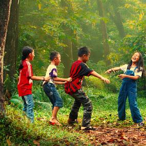 Happy children playing and joking by Ymmot Davinci - Babies & Children Children Candids
