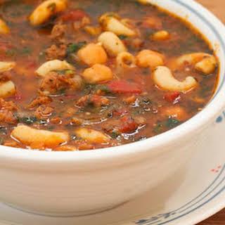 Roasted Tomato Soup with Ground Beef, Sausage, Garbanzos, Macaroni, and Basil.