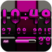Digi Clock Black Pink widget