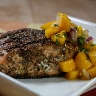 East meets West salmon with mango masala salsa