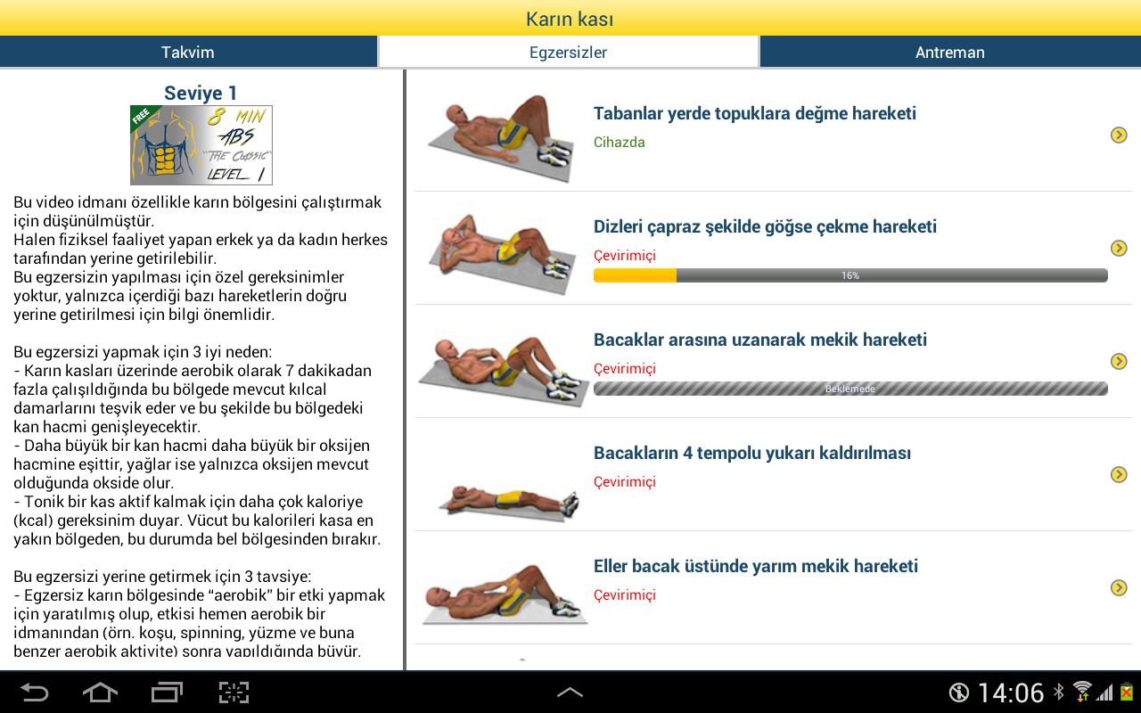 8 dakikada karın kası - screenshot