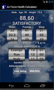 Air Force Health PT Test Calc screenshot