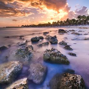 Blue vs Orange by Wojciech Toman - Landscapes Sunsets & Sunrises ( clouds, water, cancun, hdr, colors, mexico, sunset, yucatan, landscape, quintana roo )