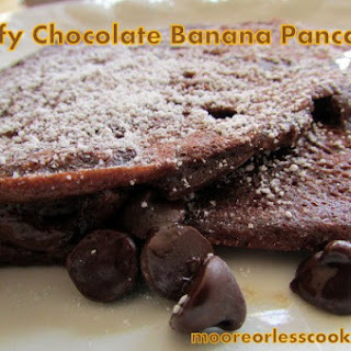 Fluffy Chocolate Banana Pancakes.