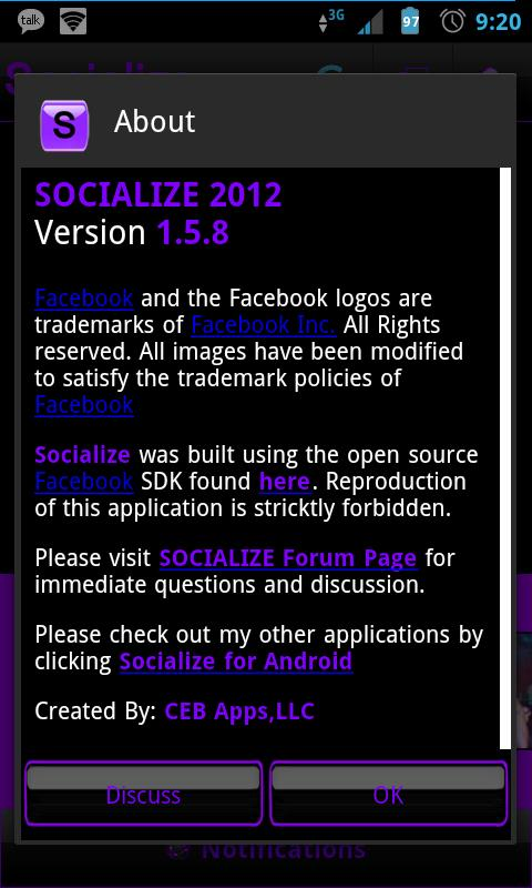 Purple Socialize for Facebook - screenshot