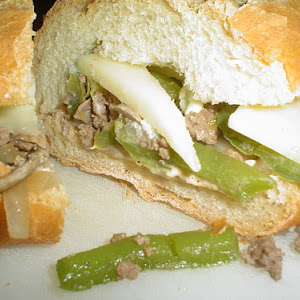 Beef Sandwich with Green Peppers and Mushroom