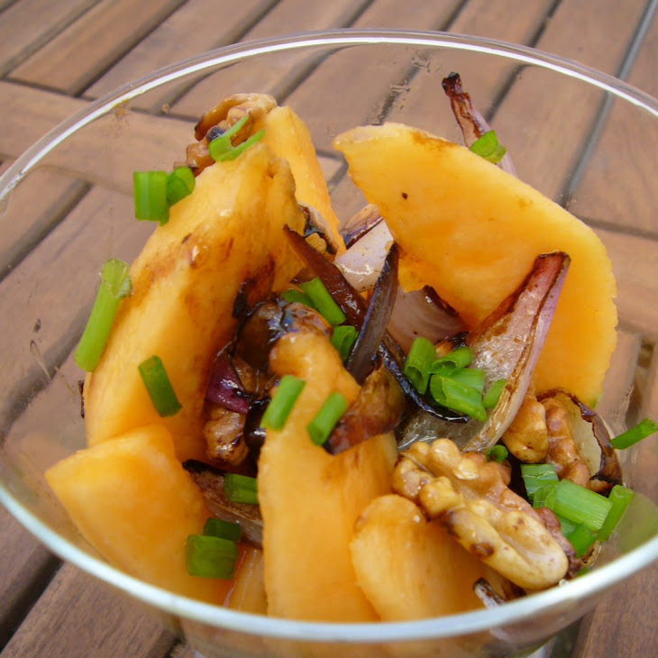 Melon, Red Onion and Walnut Salad.