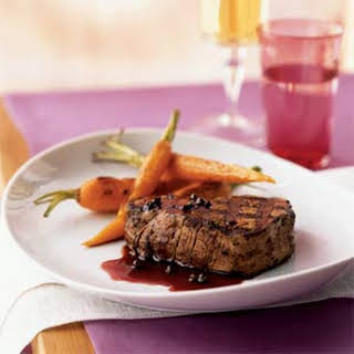 Filet Mignon with Red Currant-Green Peppercorn Sauce.