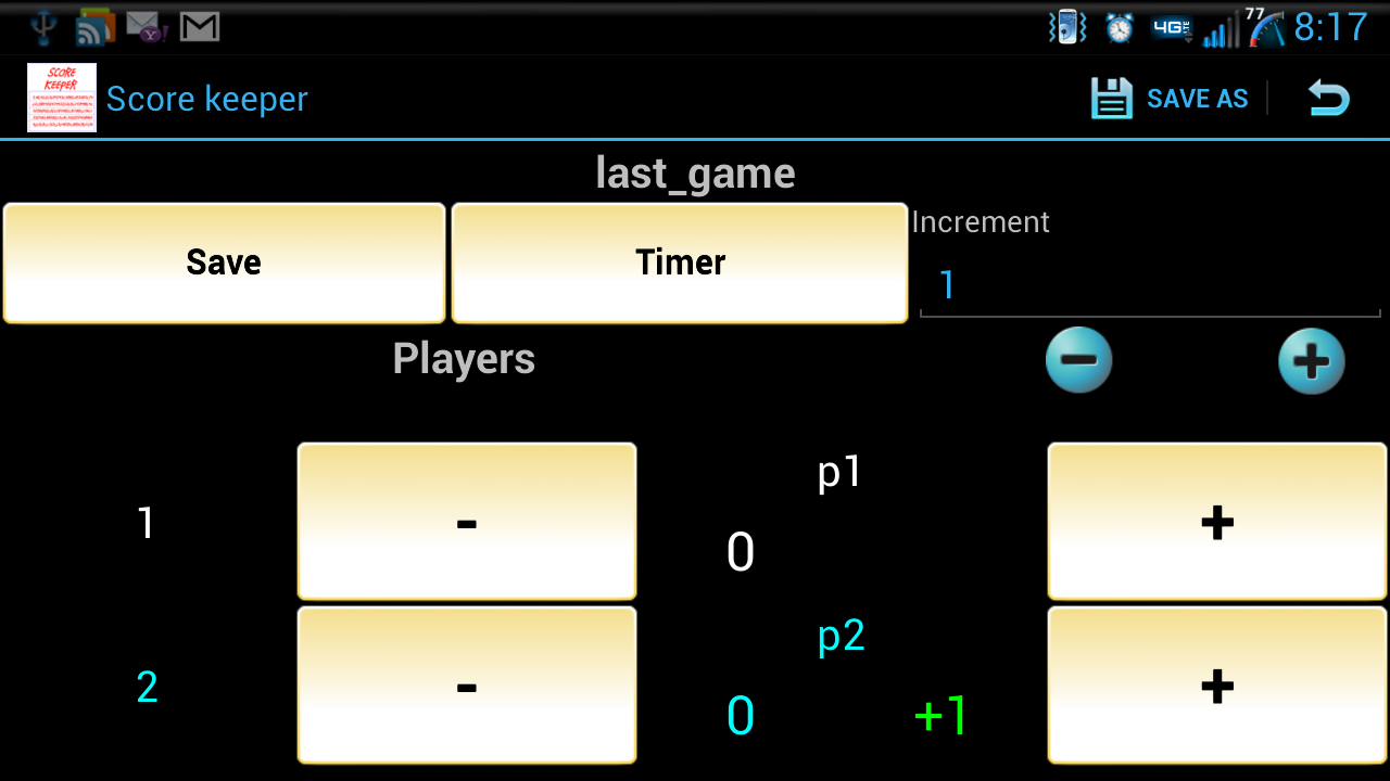 ScoreKeeper - screenshot