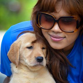 My labrador puppy by Kavindu Anthony - Animals - Dogs Portraits ( labrador retriever, doggie, labrador puppy, cute girl, girl and puppy, baby dog, labrador, dogg, #GARYFONGPETS, #SHOWUSYOURPETS,  )