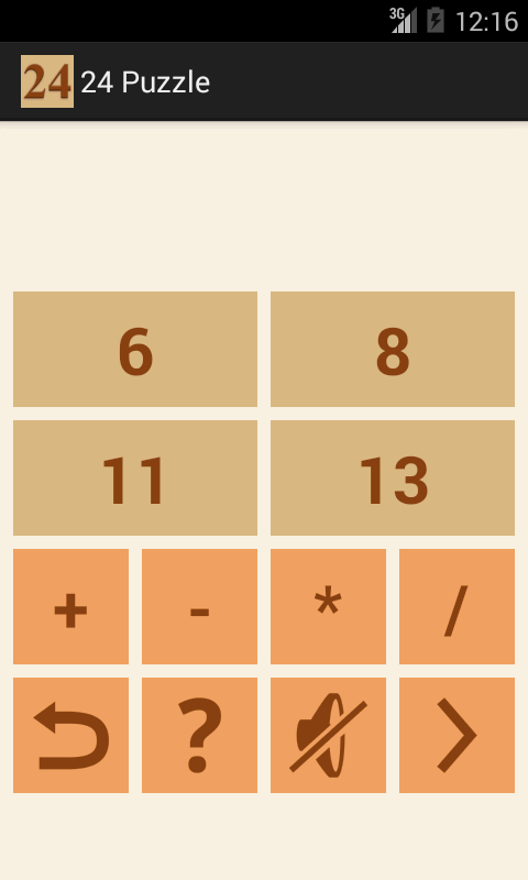 24 Number puzzle game- screenshot