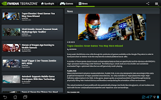 Screenshot of NVIDIA TegraZone 2