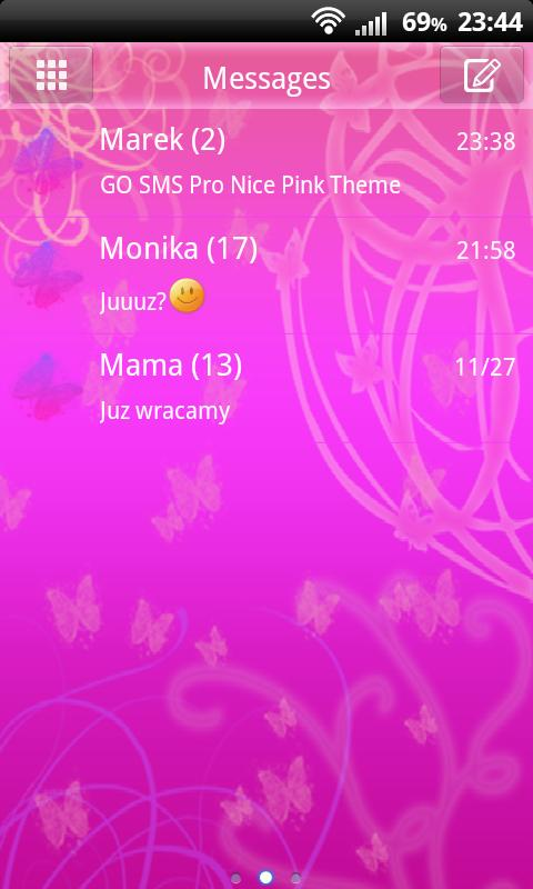 GO SMS Pro Nice Pink Theme - screenshot