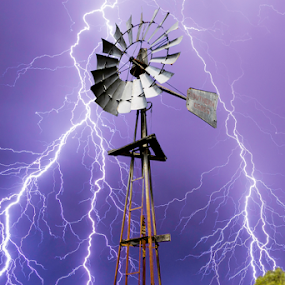 Windmill lightning conductor by Craig Eccles - News & Events Weather & Storms ( thunder, lightning strike, lightning storm, news, storm, lightning, sky, thunder strike, lightning bolt., event, cloud, thunder storm, thunder bolt, windmill )