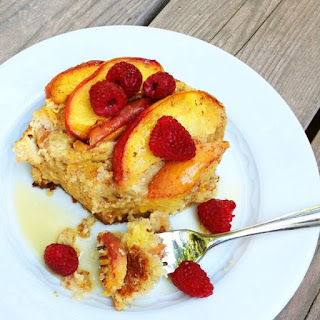 Overnight Baked Peach French Toast {Gluten Free}