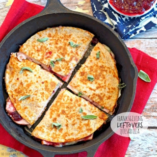 Thanksgiving Leftovers Quesadilla (3-Cheese Turkey Cranberry & Sage Quesadilla)