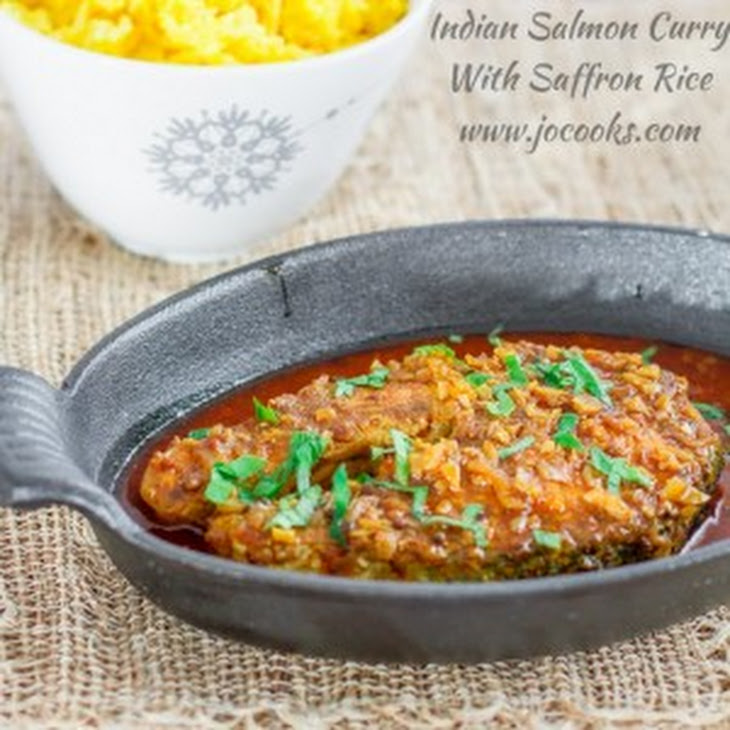 Indian Salmon Curry with Saffron Rice