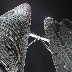 Petronas Twin Towers by Bim Bom - Buildings & Architecture Office Buildings & Hotels ( skyscraper, glass, night, buliding, steel, kuala lumpur, skybridge, , city at night, street at night, park at night, nightlife, night life, nighttime in the city )