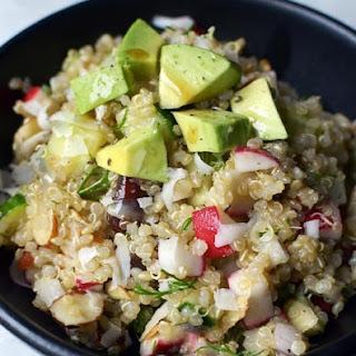 Golden Quinoa Salad with Radish, Dill & Avocado.