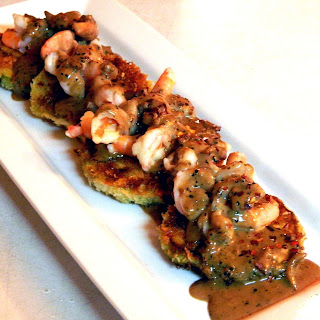 Parmesan Crusted Eggplant and Shrimp with Peppercorn Cream Sauce