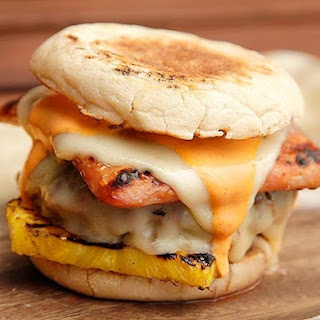 Hot Hawaiian Burgers (Spam, Pineapple, Swiss, and Sriracha Mayo)
