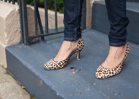 3 inch leopard hair pumps with copper heel
