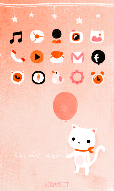 Cat with balloon icon theme - screenshot