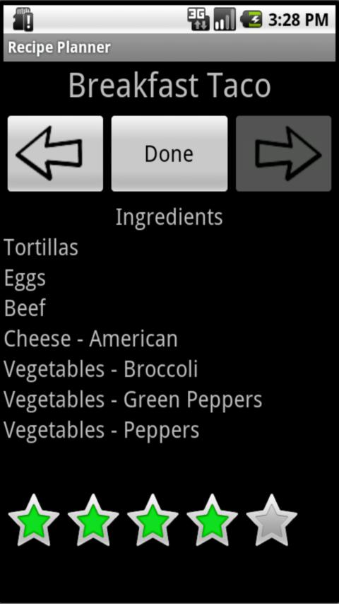 Recipe Planner - screenshot
