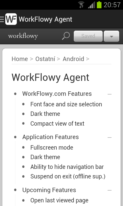 WorkFlowy Agent - screenshot