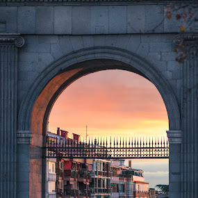 Puerta de Toledo II by Christian Diboky - Buildings & Architecture Homes ( old, españa, madrid, latina, spain, gate, new, toledo, sunset, arganzuela, puerta, puerta de toledo, evening )