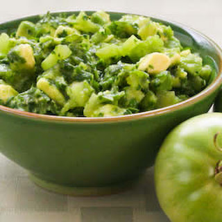 Salsa Verde with Green Tomatoes, Avocadoes, and Cilantro.