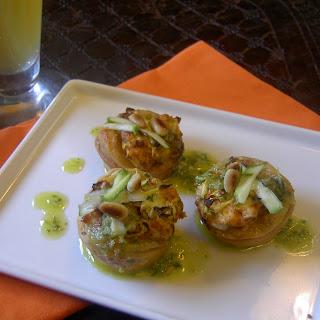 Zucchini & Chorizo Bites with Cilantro Lime Pesto.