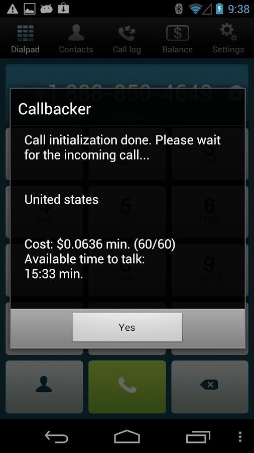 Callbacker -cheap calls abroad- screenshot
