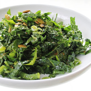 Kale Salad With Glazed Pumpkin Seeds and Hot Cider Vinaigrette From 'The New Vegetarian Cooking for Everyone'.
