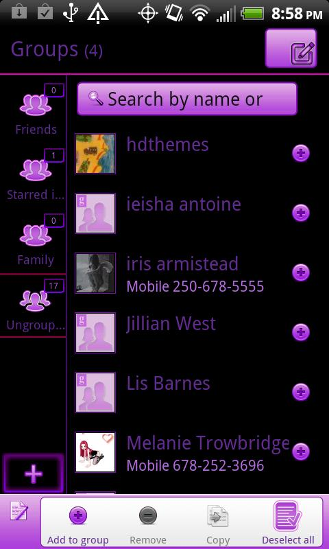 GO Contacts EX Black & Purple- screenshot