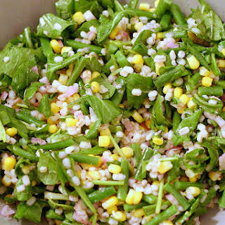 Barley and Corn Salad with Arugula and Haricot Vert.