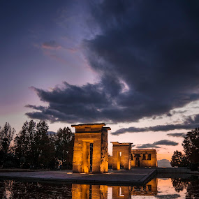 Temple of Debot by Christian Diboky - Buildings & Architecture Places of Worship ( templo de debot, water, clouds, orange, reflection, egyptian, madrid, debot, spain, egypt, temple, sky, blue, sunset, violet, light, evening,  )