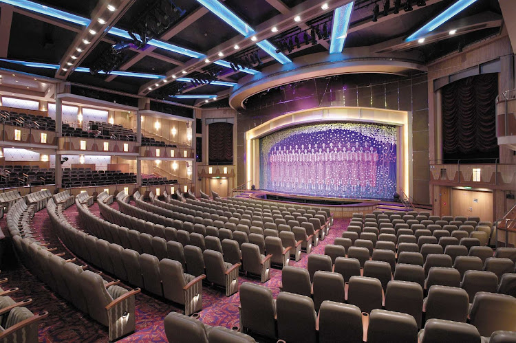 The five-story Palace Theater, Explorer of the Seas' main show lounge, features contemporary musical stage productions.