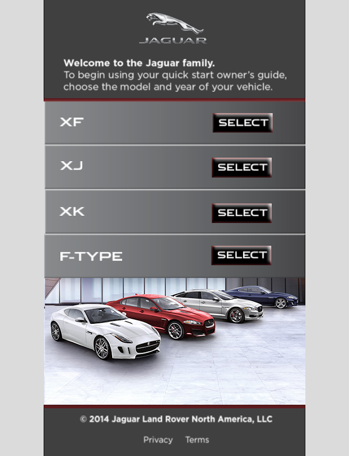 Jaguar Quick Start Guide App - screenshot