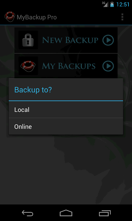 My Backup– captura de ecrã