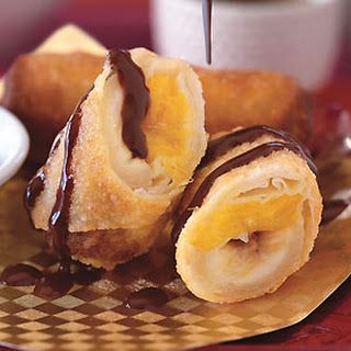 Banana and Mango Spring Rolls with Coconut-Chocolate Ganache