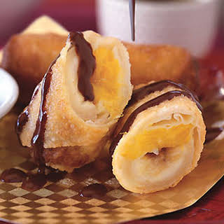 Banana and Mango Spring Rolls with Coconut-Chocolate Ganache.
