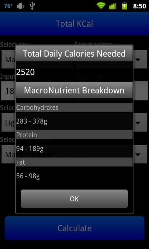 Total KCal - screenshot