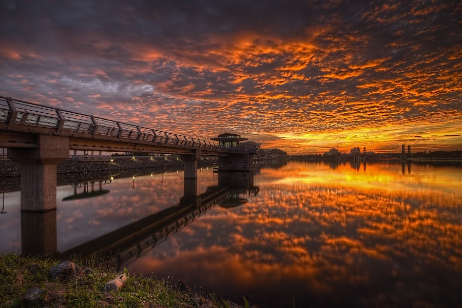 The Bridge Under Burning Sky by Mohd Tarmudi - Buildings & Architecture Bridges & Suspended Structures ( putrajaya lakeside,  )