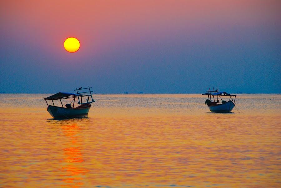 Little boats by Milou Krietemeijer-Dirks - Landscapes Waterscapes ( , purple, yellow, color )