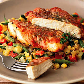 Sauteed Chicken Breasts with Country Ham and Summer Succotash.