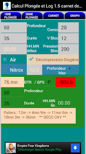 Plongée tables mn90 Nitrox Alt Capture d'écran