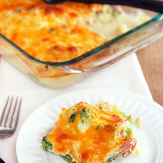 Healthy Cauliflower Broccoli Casserole with Ham.