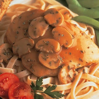 Chicken Marsala with Basil and Mushrooms.