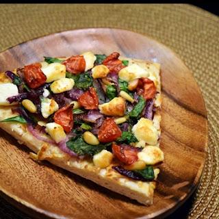 Spinach, Feta and Fresh Tomato Pizza